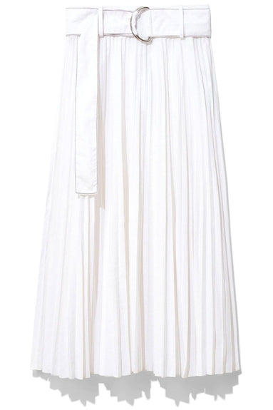 Pleated Parachute Skirt in White
