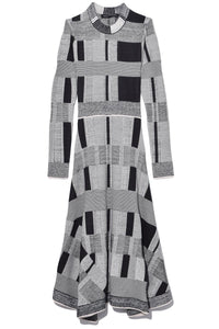 Patchwork Plaid Dress in Off White/Black