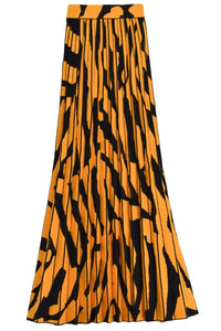 Pleated Skirt in Black/Ochre
