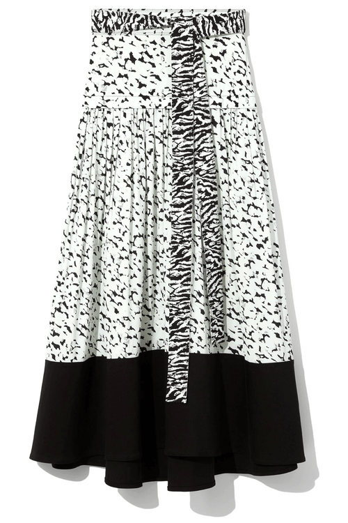 Printed Midi Skirt in Black/Sky Blue Inky Leopard