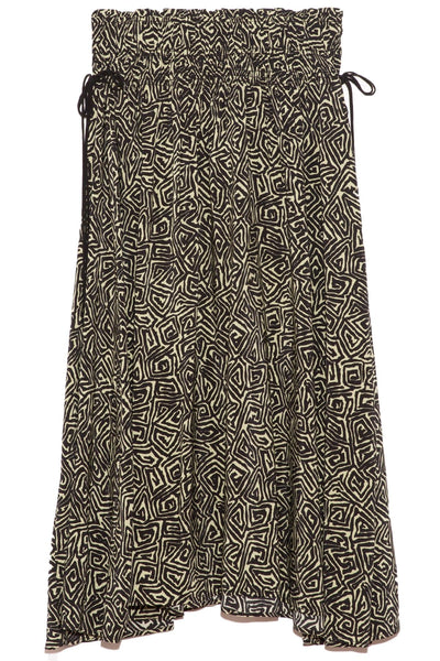 Printed Tie Waist Skirt in Black/Spanish Moss