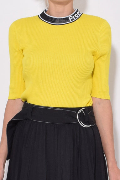 Short Sleeve Knit Crew in Yellow Combo
