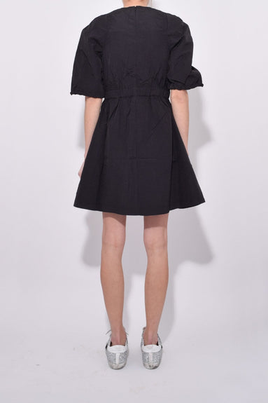 Short Sleeve Tie Wrap Parachute Dress in Black