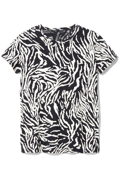 Short Sleeve Tissue Jersey T-Shirt in Ecru/Black Animal