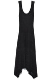 Sleeveless Dress with Handkerchief Hem in Black
