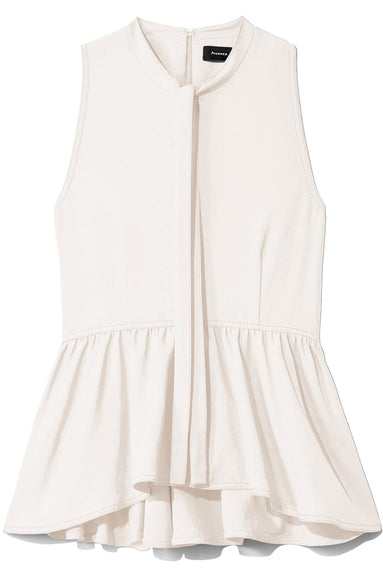 Sleeveless Parachute Crepe Top in Off White