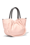 Small Ruched Smooth Leather Tote in Cameo Rose