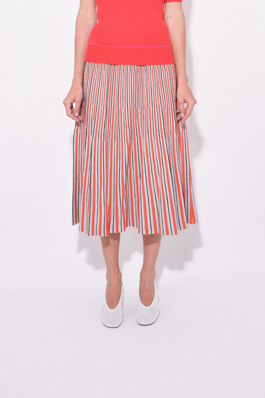 Striped Jacquard Knit Skirt in Light Blue/Red