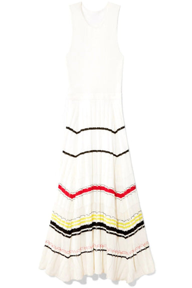 Striped Rib Dress in White Combo