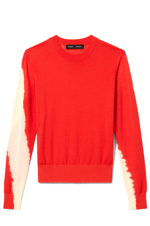 Tie Dye Crew Neck Pullover in Poppy/Ecru