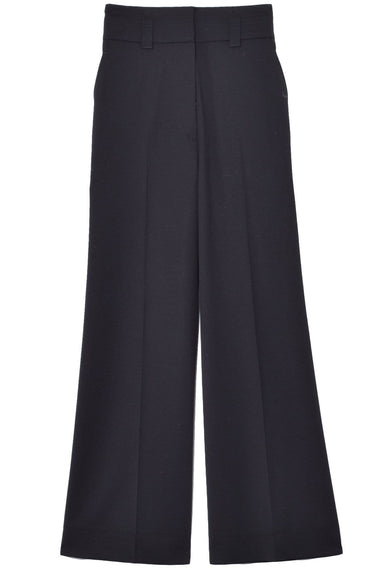 Wool Suiting Culotte Pant in Black