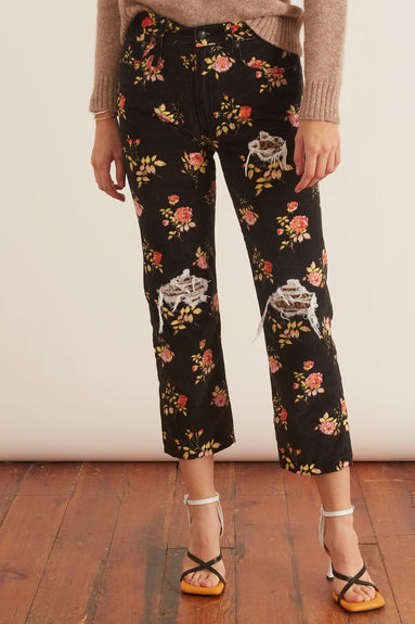 Boyfriend Jean in Black Floral