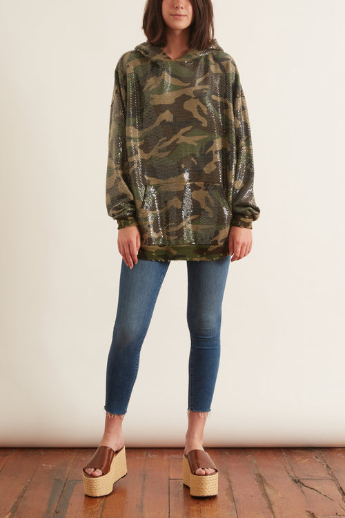 Camo Sequined Hoodie in Camo Sequin