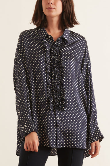 Drop Neck Tuxedo Shirt in Navy Star