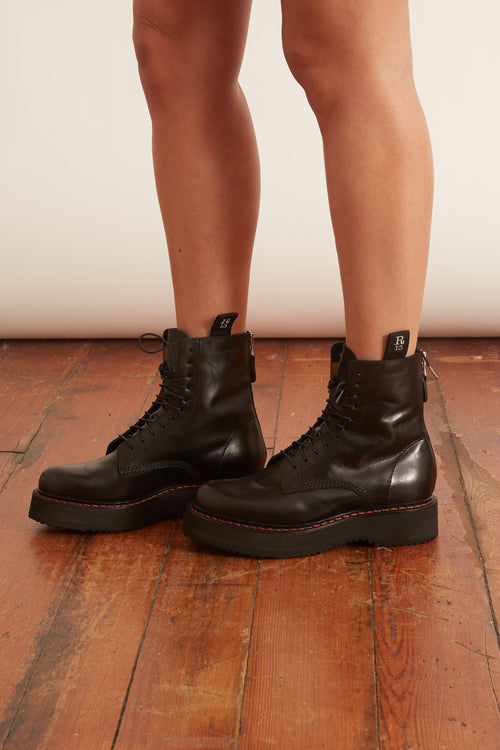 Single Stacked Lace-Up Boots in Black