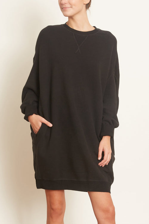 TS Grunge Sweatshirt Dress in Washed Black