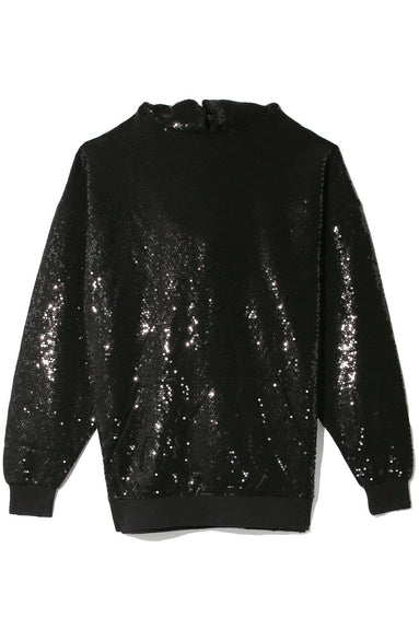 Black Sequined Hoodie in Black Sequin