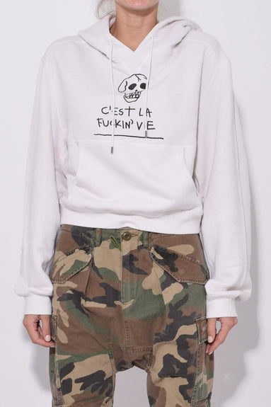 C Est La Vie Cropped Hoodie in Dirty White