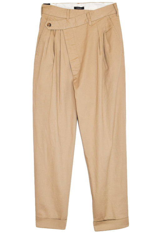 Cropped Triple Pleat Crossover Pant in Khaki