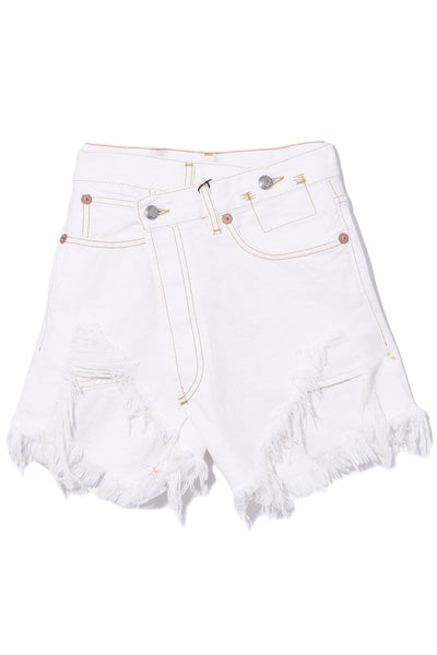 Cross Over Short in White with Spiral Hem