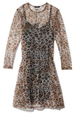 Mesh Long Sleeve Babydoll Dress in Leopard