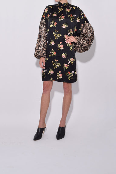 Neck Tie Dress in Black Floral with Leopard
