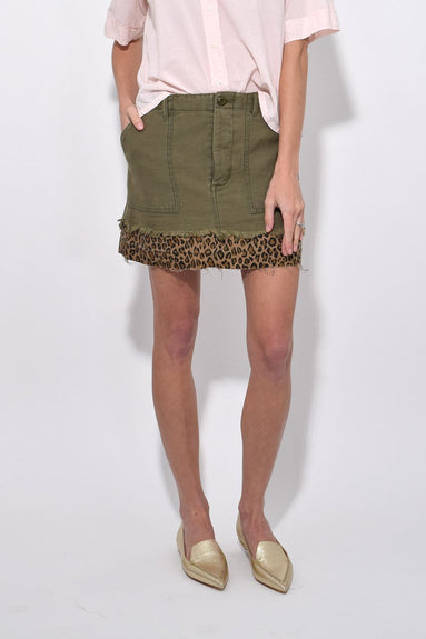 Olive with Leopard Utility Camp Skirt in Fatigue Olive