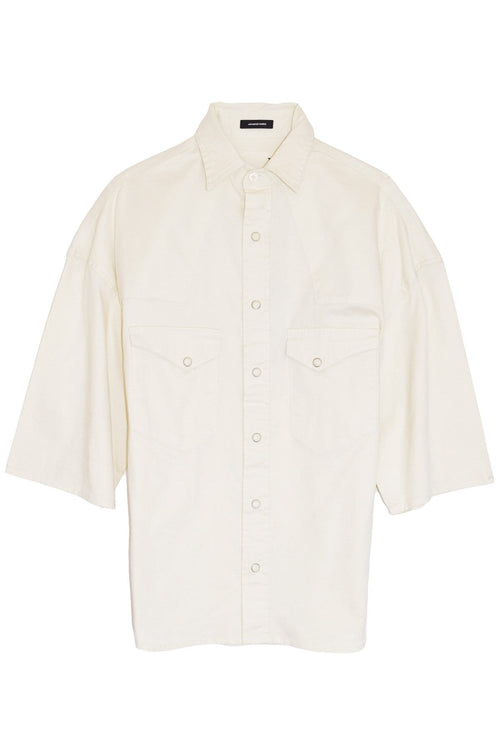 Oversized Short Sleeve Cowboy Shirt in White