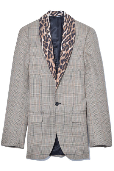 Shawl Lapel Tuxedo Jacket in Brown Glenplaid with Leopard