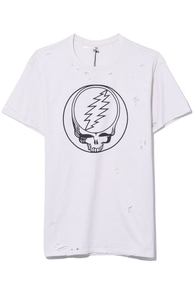 Steal Your Face Distressed Boy T in Dirty White