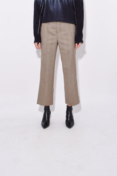 Tuxedo Trouser in Brown Glenplaid with Leopard