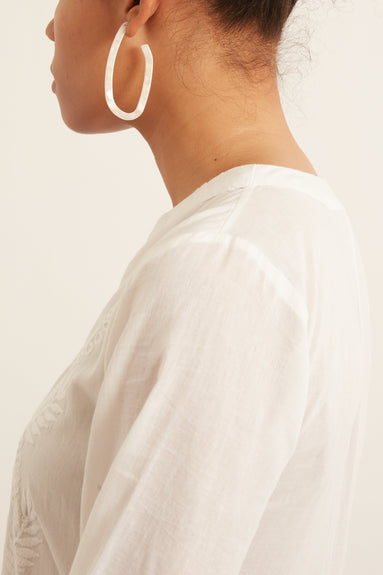 Maya Earring in White Digital Marble