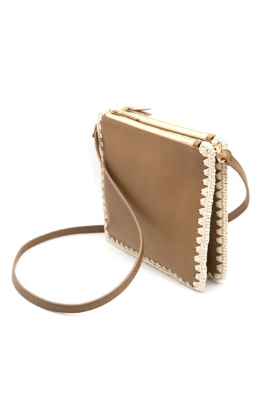 Dey Leather Crochet Crossbody in Taupe