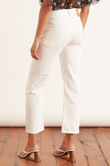 Maya High Rise Ankle Straight Jean in Worn White