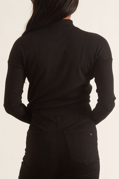 The Knit Rib Tie Turtleneck in Black