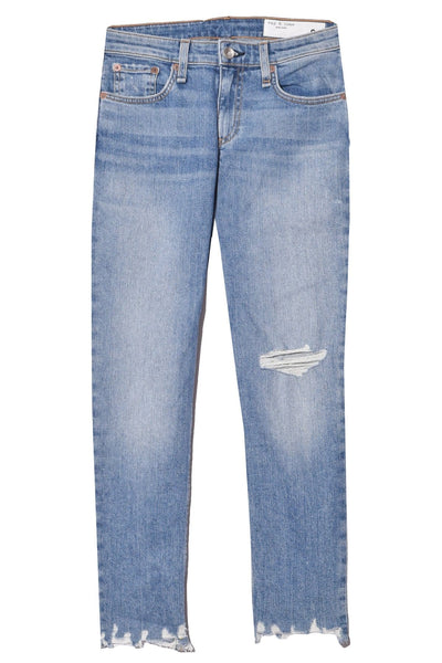 Dre Low Rise Slim Boyfriend Jean in Dobbie with Holes