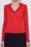 Pamela V-Neck Top in Red