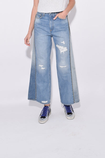 Ruth Super High Rise Ankle Wide Leg Jean in Ripped Helena