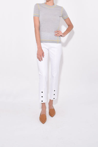 Simone Snap Front Pant in White