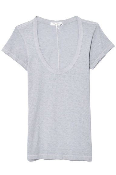 U Neck Tee in Dusty Blue