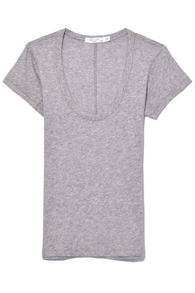 U Neck Tee in Heather Grey