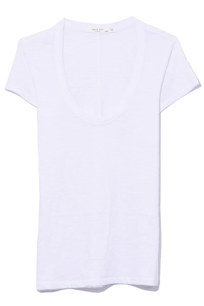 U Neck Tee in White