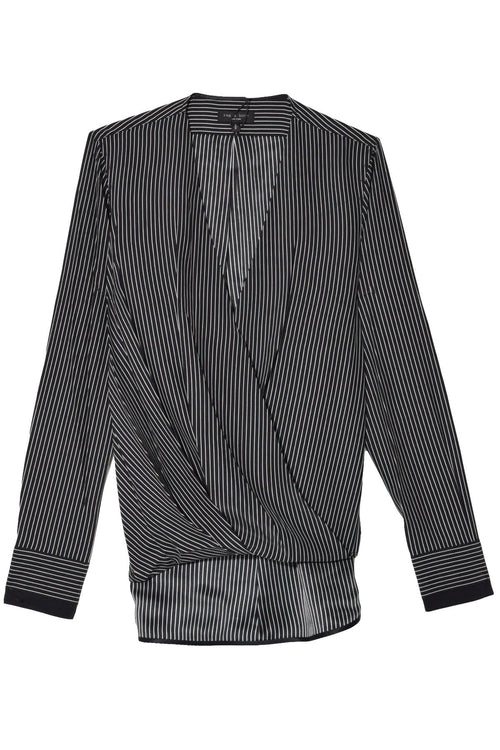 Victor Blouse in Black/White Stripe