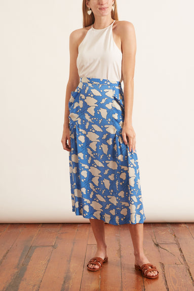 Bold Floral Silk Dreamer Skirt in French Blue