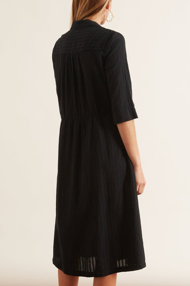 Cotton Dobby Stripe Tiered Peasant Dress in Black