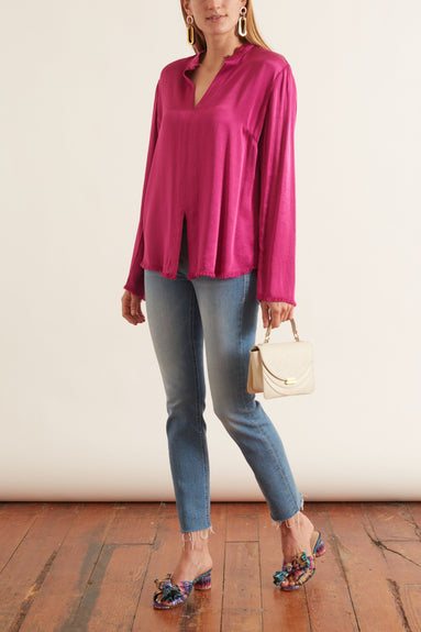 Crepe Back Satin Split Front Blouse in Dahlia