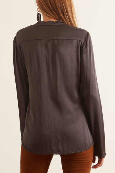 Crepe Back Satin Split Front Blouse in Slate