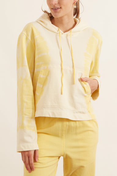 Crop Hoodie in Yellow Hilma Tie Dye