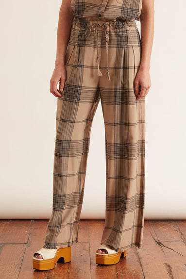 Paper Bag Trousers in Mocha Plaid