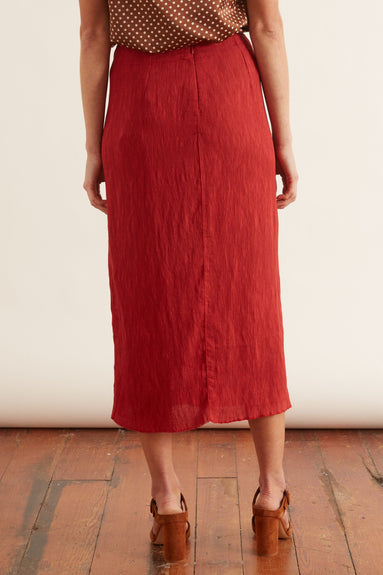 Pleated Rayon Kate Slip Skirt in Venetian Red